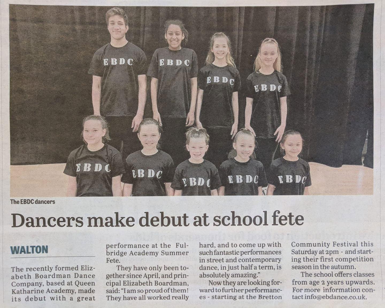 EBDC Peterborough evening telegraph Article dancing team training